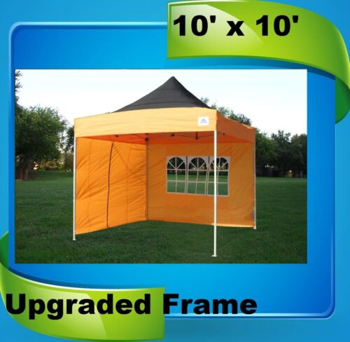 F Model with Upgraded Frame Black Orange 10/'x10/' Pop Up Canopy Party Tent EZ