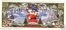 Xmas 25 Dollar Bill Note Gift Merry Present Rudolf Tree Snow Man Scene Unusual