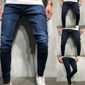 Fashion-Mens-Solid-Color-Slim-Denim-Jeans-Streetwear-Pants-Casual-Trousers-GIFT