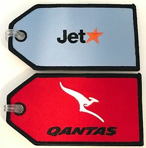 SET-OF-2-QANTAS-amp-JET-STAR-TAGS-AIRLINES-AVIATION-TRAVEL-FABRIC-LUGGAGE-BAG-TAG