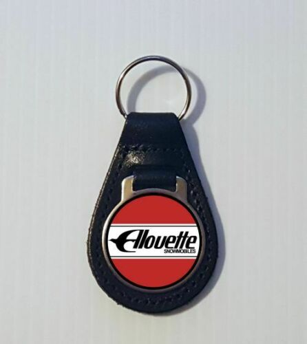 Reproduction Vintage Alouette Red Snowmobile Medallion Style Leather Keychain