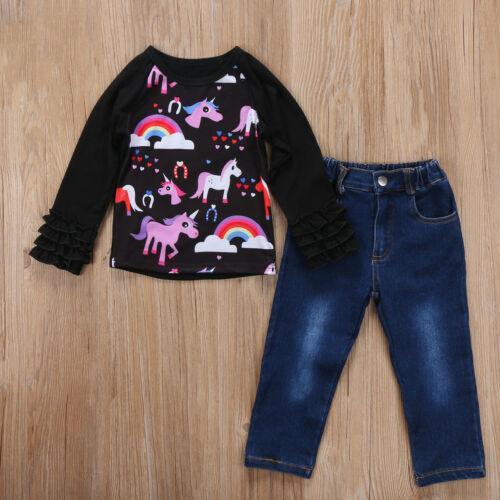 Kids Baby Girls Autumn Outfits Unicorn Tracksuit Clothes T-shirt Tops+Pants 2PCS