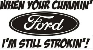Ford While Youre Cummin Im Strokin Decal Funny Window Ford Chevy