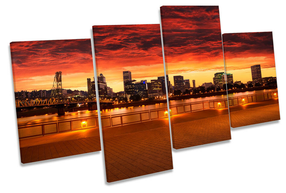 Portland Oregon City Skyline CANVAS WALL ART MULTI  Box Framed