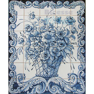 Portuguese Traditional Hand Painted Azulejos Tiles Panel