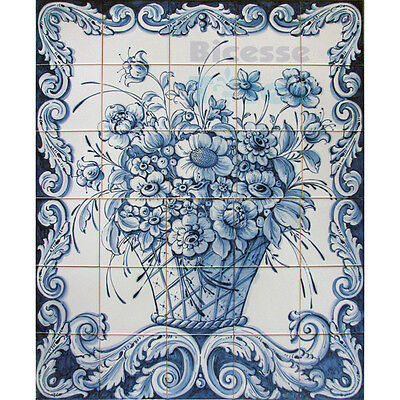Portuguese Traditional Hand Painted Azulejos Tiles Panel Mural BLUE FLOWERS VASE