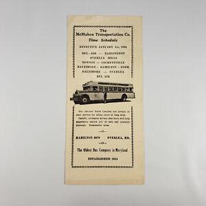 1943 Mcmahon Transportation Bus Timetable Baltimore
