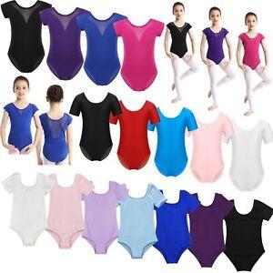 Girls-Children-Short-Sleeves-Ballet-Dance-Leotards-Dancewear-Gymnastics-Costumes
