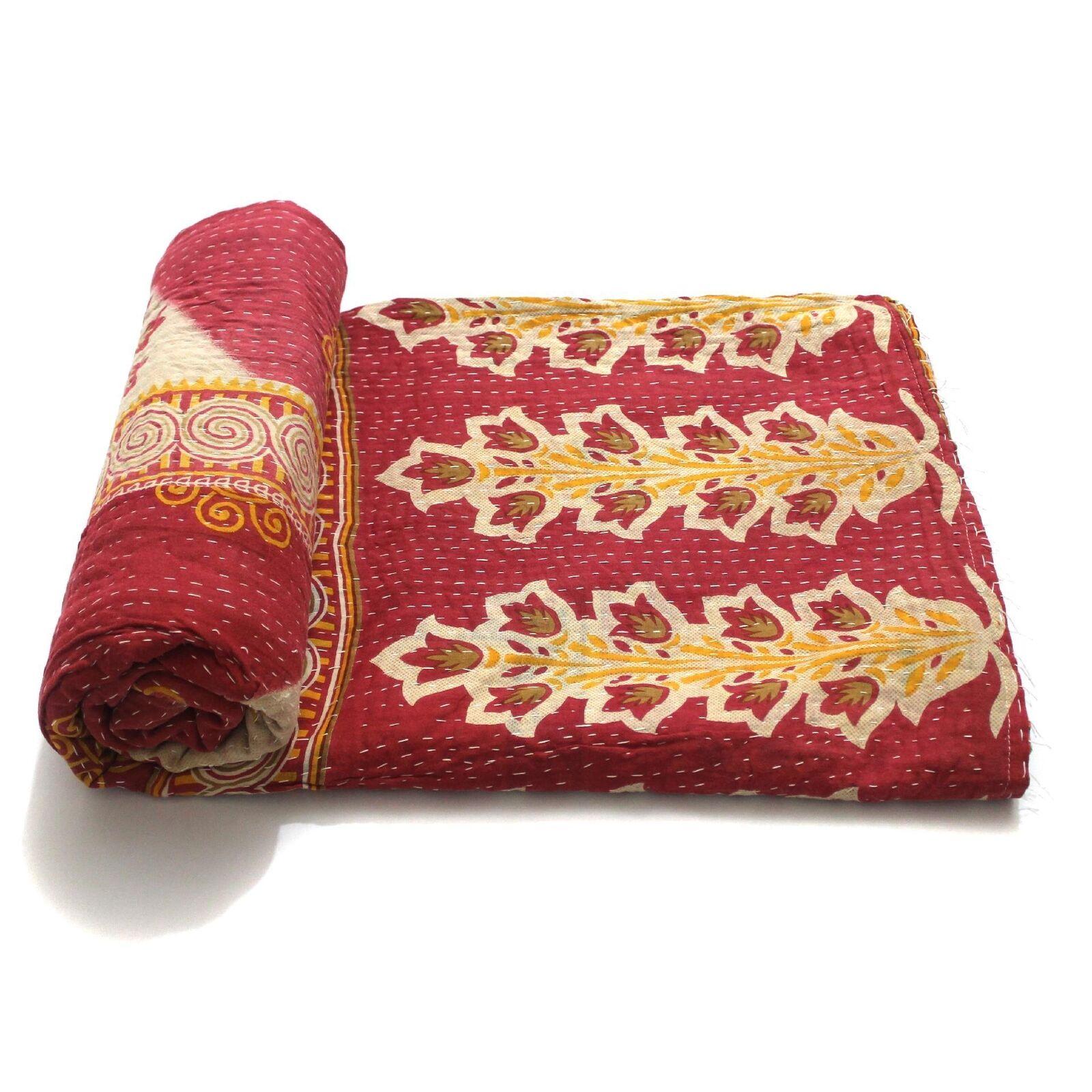 Vintage Quilt Indian Handmade Organic Cotton Bedspread Comforter Bedding Throw