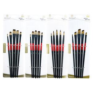 New-5-Nylon-Hair-Black-And-Red-Pole-Brush-Watercolor-Gouache-Art-Brush-Set-BS