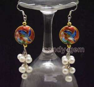 SALE-6-7mm-Round-White-Natural-Pearl-amp-18mm-Red-Cloisonne-Dangle-earring-ear589