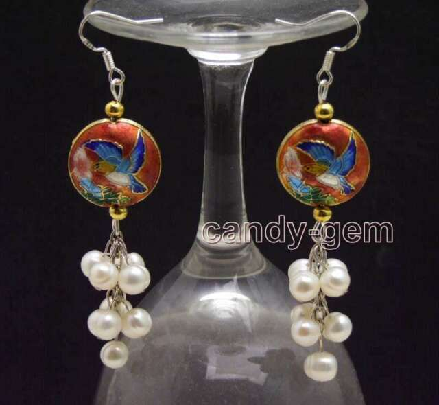 SALE 6-7mm Round White Natural Pearl & 18mm Red Cloisonne Dangle earring-ear589