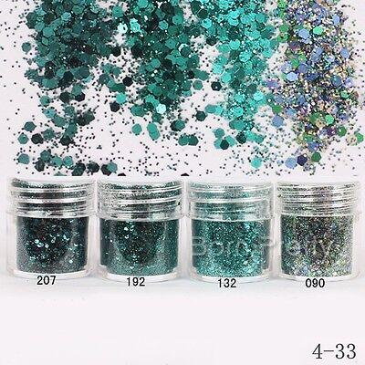 1Box 10ml Dark Green Glitter Powder Hexagon Round Powder Sheets Tips Nail Art