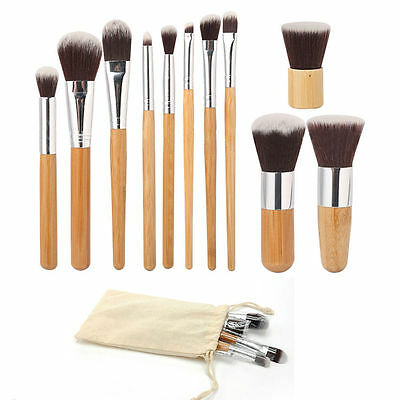 11Pcs Bamboo Handle Cosmetic Makeup Brush Set Foundation Blush Soft Brushes Kit@
