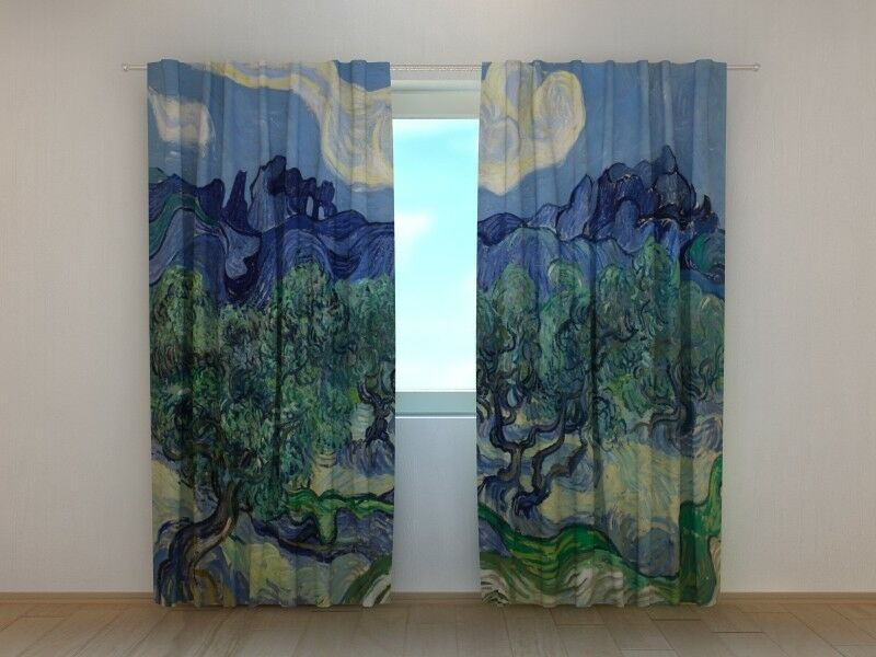 Curtain for Living Room Art Vincent van Gogh The Olive Trees Printed Wellmira 3D