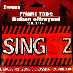 Funny ZOMBIE CROSSING Fright Caution Warning Tape Halloween Prop Decoration-30ft