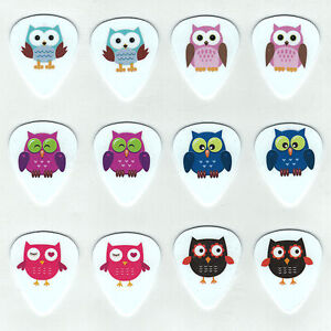 12 Bulk Pack OWLS ASSORTED KIDS FUN HOOT Medium Gauge Pick Guitar Picks Owl