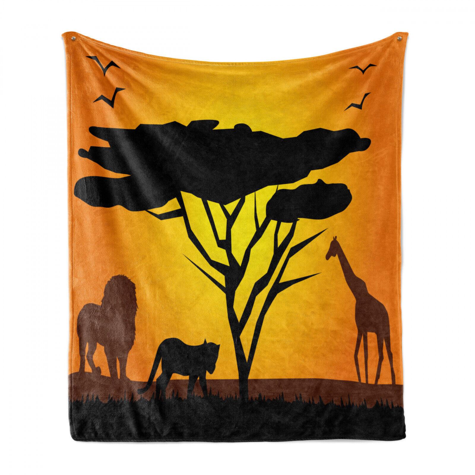 Giraffe Soft Flannel Fleece Blanket African Desert-lion-Tiger