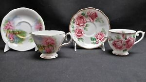 Queen Anne England Bone China Lady Margaret Meadowside - Pair of Cups & Saucers
