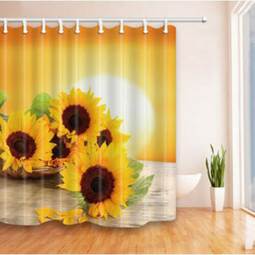 Floral Shower Curtain Sunflowers on the Wall Print for Bathroom Decor BT3