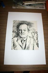 Antique lithographie, LOVIS CORINTH, portrait of Gerhard Hauptmann, signed, 1917