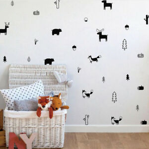 Details about Forest Animal Wall Decals Woodland Nursery Vinyl Art Stickers  Home Decorating QL