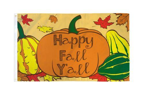 3x5 Happy Fall Yall Flag Pumpkin Squash Thanksgiving Outdoor Banner Decoration