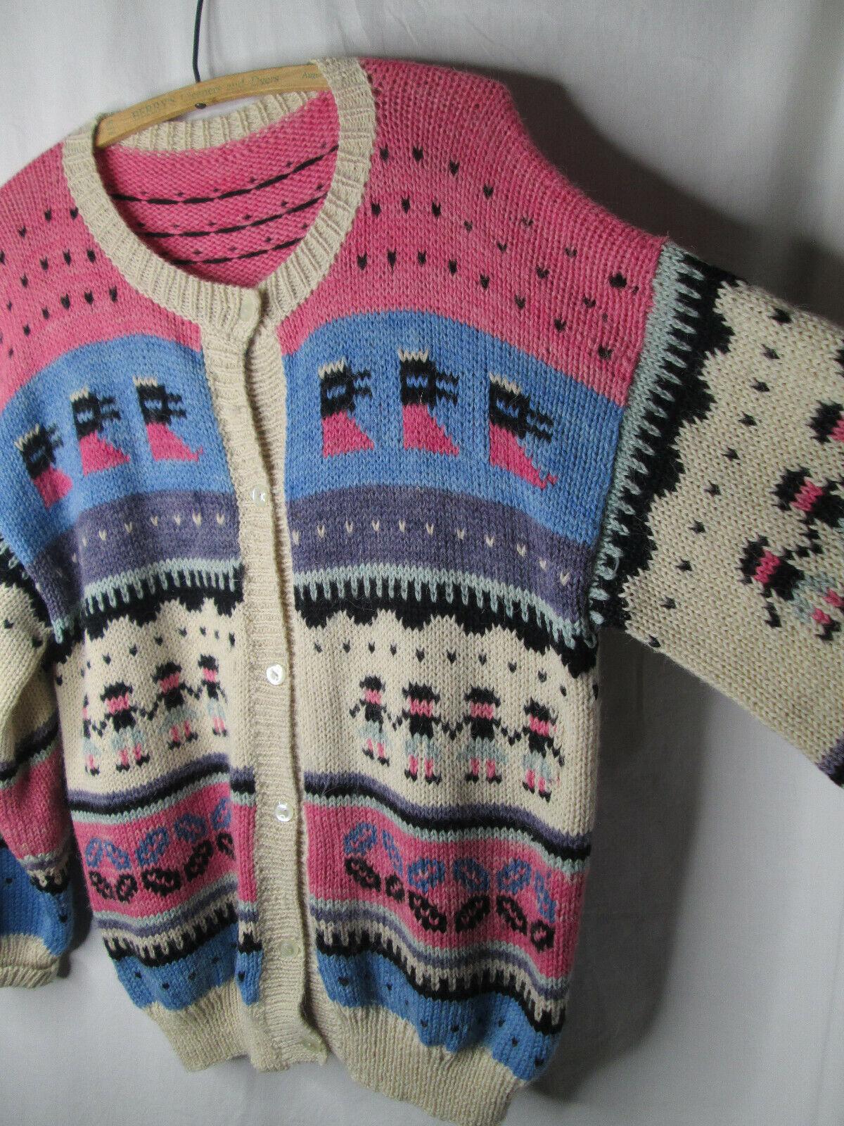 hand knit sweater  Southwestern style wool sweater  colorful wool cardigan vintage hand knit wool cardigan sweater
