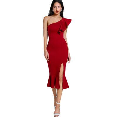 Vestidos Vendaje Elegantes Del Hombro De Fiesta Moda Para Mujer Agosto Rojos Ebay