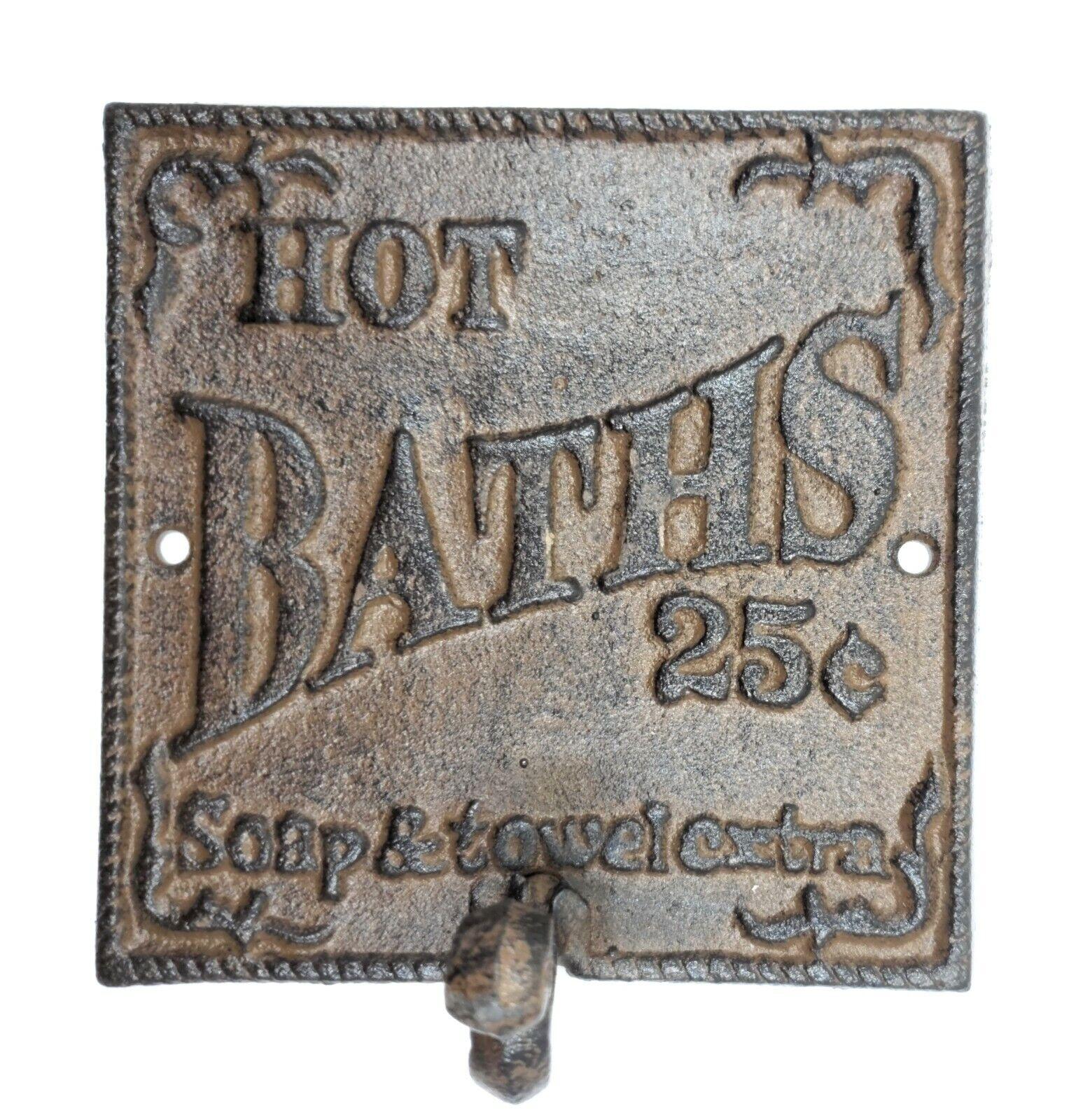 Set 4 Rustic Hot Bath Sign Hook Farmhouse Primitive Wall Bathroom Decor