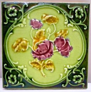 Vintage Tile England Majolica Art Nouveau Porcelain Architecture Collectible 121 Ebay
