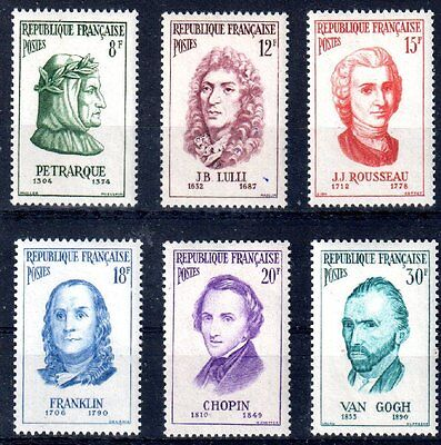 FRANCE 1956 TIMBRE N° 1082 à 1087 SERIE PERSONNAGES CELEBRES ** LUXE