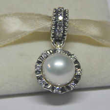 New Authentic Pandora Charm 791385P Dangle Everlasting Grace Pearl Box Included