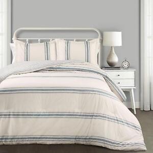 Farmhouse Blue Stripe 3pc Full Queen Comforter Set Grain Sack