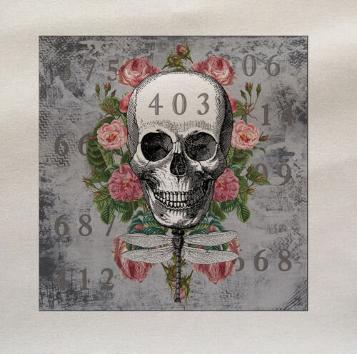 Skull and Roses Printed Fabric Panel Make A Cushion Upholstery Craft