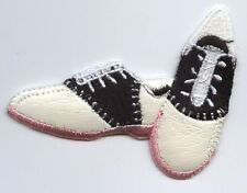 Iron On Embroidered Applique Patch 50s Pink Sole Black and White Saddle Shoes