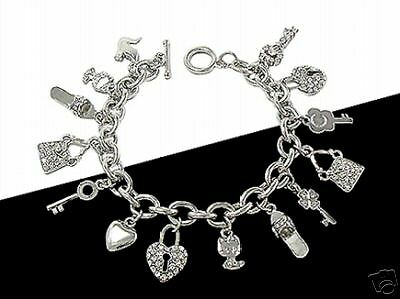 ST Heart Lock Key Sandle Purse Cat Dove Charm Bracelet