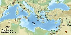 Details about Ancient Mediterranean Map