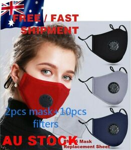 Reusable Cloth Cotton Face Mask PM2.5 Filters 5Layer Guard With Air Breathing A+