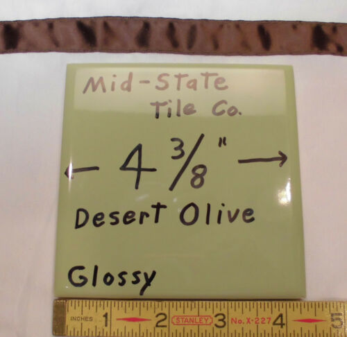"""1 pc *Olive Green Avocado* Glossy Ceramic Tiles by Mid-State Co...4-3//8/""""   NOS"""