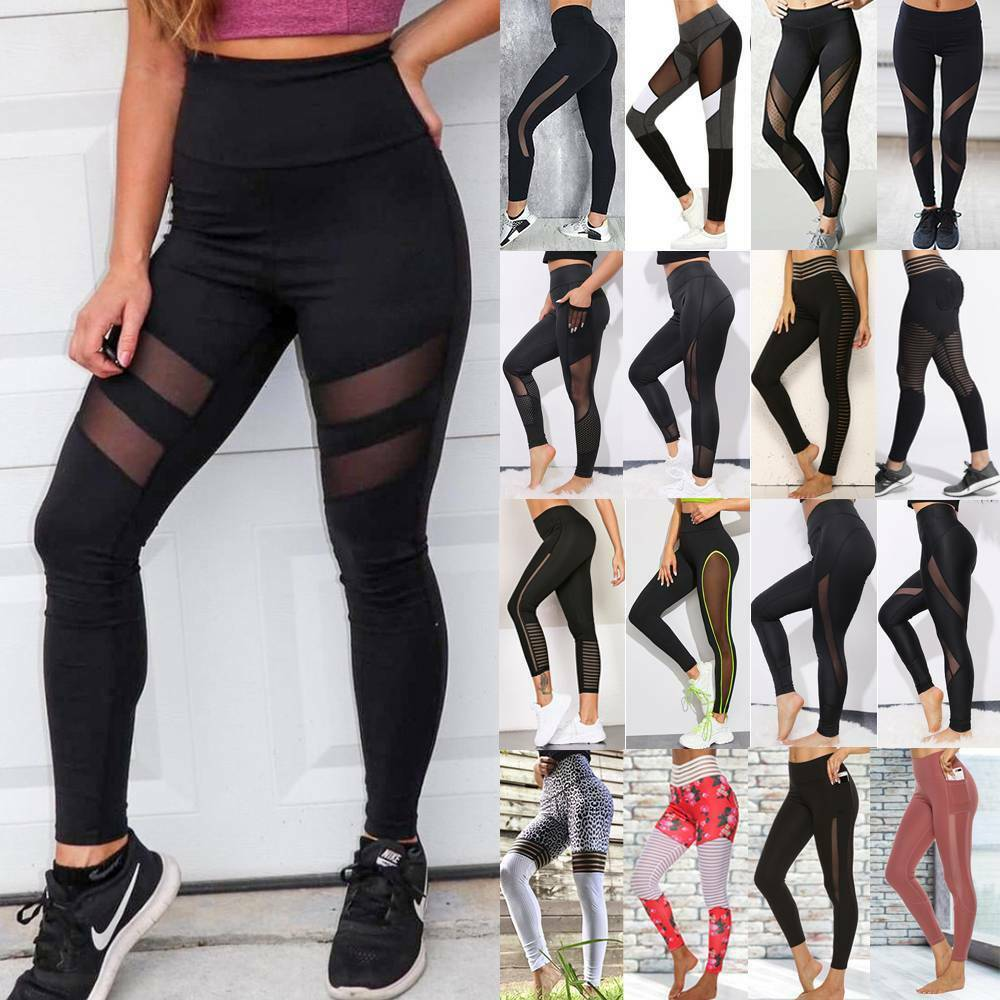 Women's High Waisted Leggings Yoga Pants Sports Fitness Running Gym Trousers G21