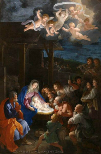 Hand painted art huge Oil painting The Birth of Christ Child with Saints angel