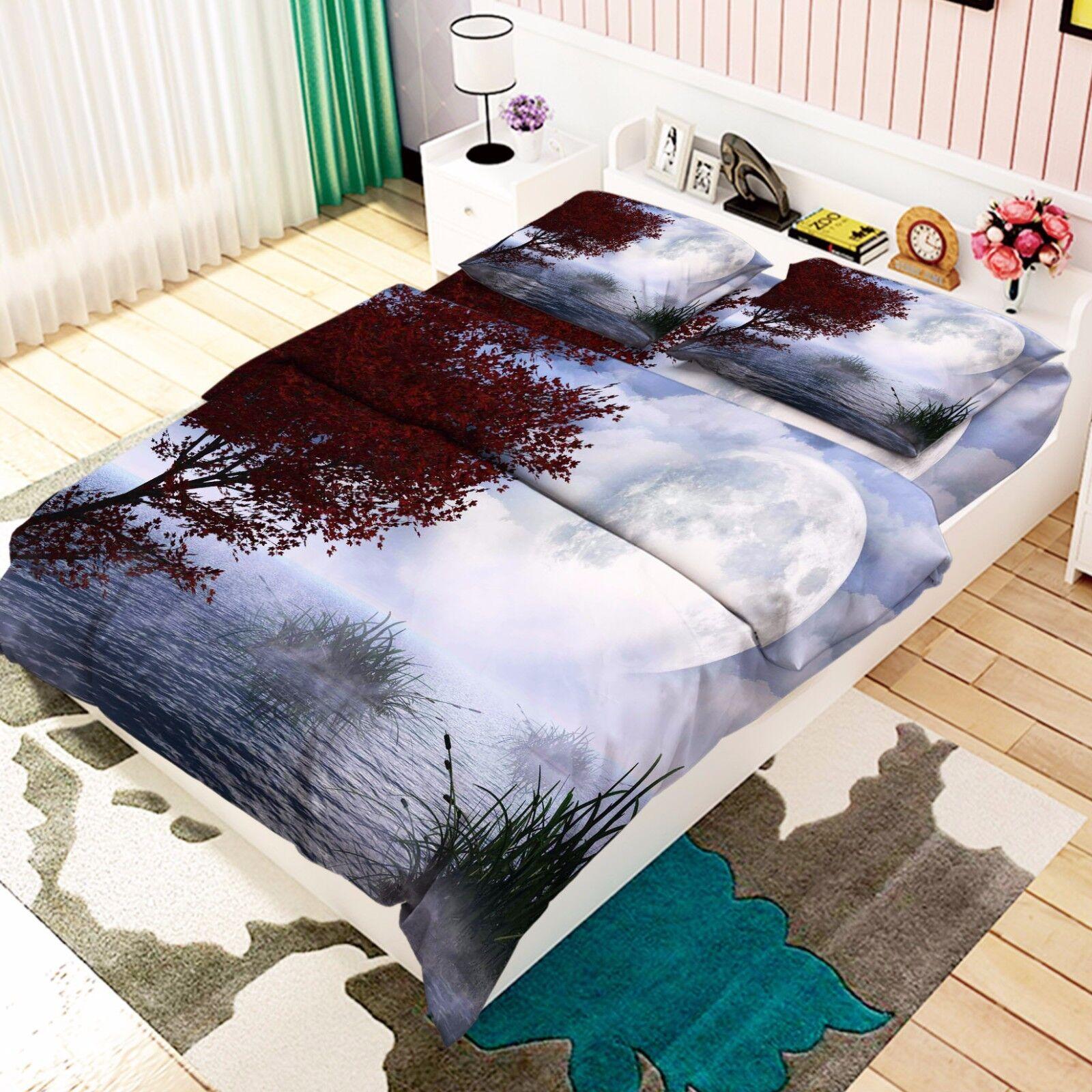 3D Moon Shrub Lake 9 Bed Pillowcases Quilt Duvet Cover Set Single Queen AU Lemon
