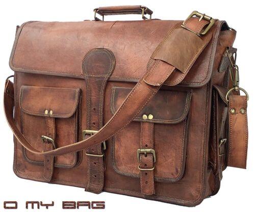 Men Vintage Leather School Shoulder Bag Satchel Military Messenger Retro