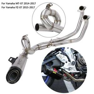 Motorcycle-Full-Exhaust-Round-Steel-Front-Link-Pipe-for-Yamaha-MT-07-FZ-07-14-17