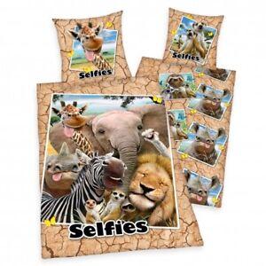 Selfies Zootiere Bettwäsche 80x80 135x200 Cm Giraffe Elefant Zebra