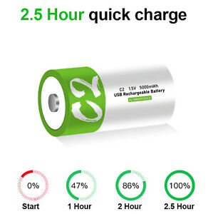C Cell Akku lithium-ionen Battery 5.000mWh 100% cap.li-polymer per USB ladbar