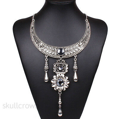 Vintage Luxury Sliver Crystal Charm Chain Statement Bib Necklace Chunky Collar