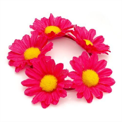 FLOWER BUN RING HAIR SCRUNCHIE ELASTIC GARLAND BAND ROSE OR DAISY FESTIVAL DANCE