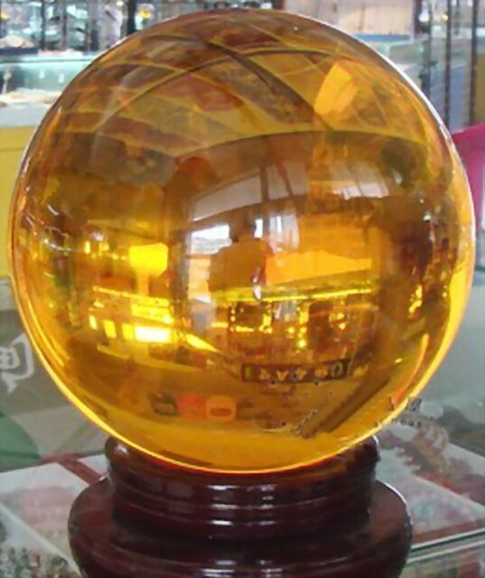 Asian Rare Natural Quartz Yellow Magic Crystal Healing Ball Sphere 80mm+Stand